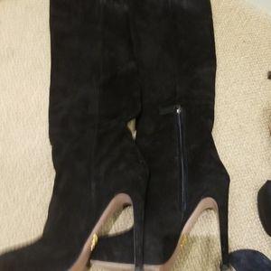 Prada suede black heel boots.